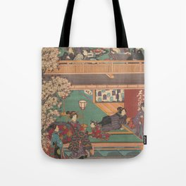 Japanes Print Early Evening in Yoshiwara Inn Tote Bag