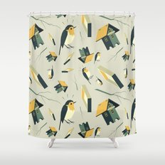 Flying Birdhouse (Pattern) Shower Curtain