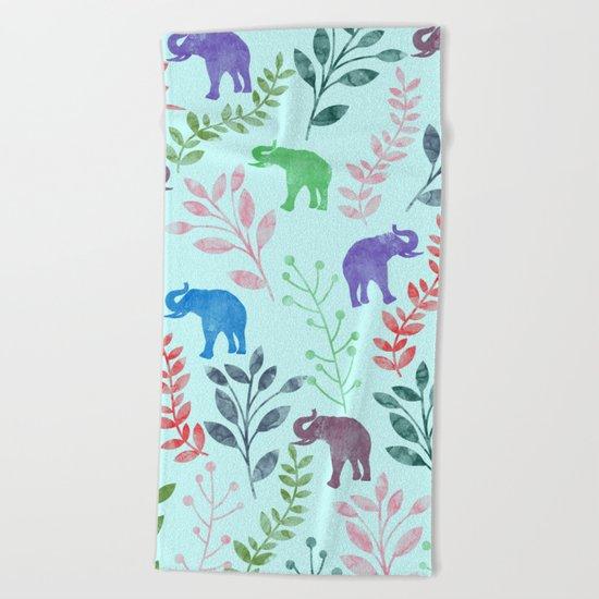 Watercolor Flowers & Elephants II Beach Towel
