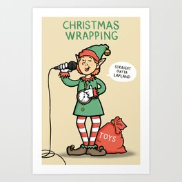 Christmas Wrapping - Funny Xmas Cartoon - Festive Elf Illustration Art Print