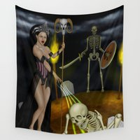 skeleton Wall Tapestries featuring Skeleton by Egberto Fuentes