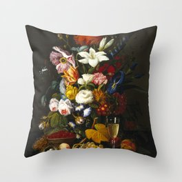 Severin Roesen - Victorian Bouquet Throw Pillow