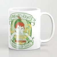 peter pan Mugs featuring Pan by Charleighkat