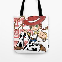 toy story Tote Bags featuring Toy Story Jessie by RottenBunnyMeat