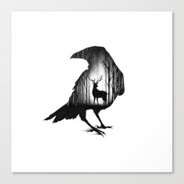 THE RAVEN AND THE DEER Canvas Print