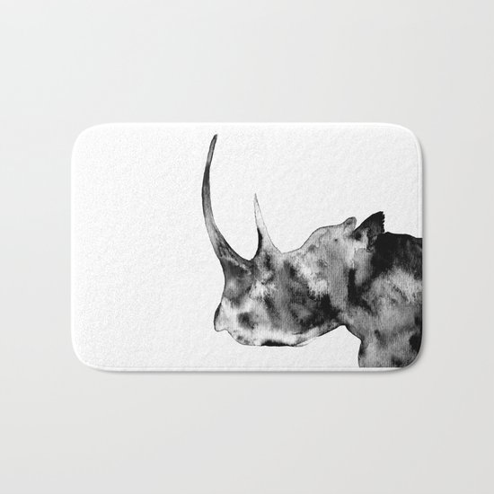 Rhinoceros, black and white Bath Mat