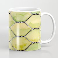 the wire Mugs featuring Chicken Wire by Dawn Patel Art