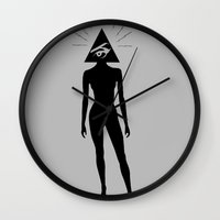 illuminati Wall Clocks featuring ILLUMINATI HEAD by HAUS OF DEVON