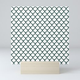 Scales (Dark Green & White Pattern) Mini Art Print