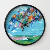 plane Wall Clocks featuring Plane Without Plane by Valeriya Volkova