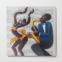African American 'Apollo Theater Sheet Music Portrait No. 4' Josephine & Sax by Miguel Covarrubias Metal Print