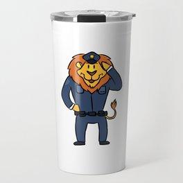 Police security lion cartoon children gift Travel Mug