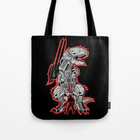 metal gear Tote Bags featuring Metal Gear T.REX by MeleeNinja