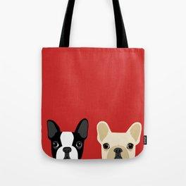 Boston Terrier & Cream French Bulldog RED Tote Bag