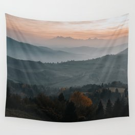 Hazy Mountains - Landscape and Nature Photography Wall Tapestry