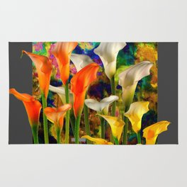 Orange Ivory & Golden Color Calla Lilies Golden Art Rug