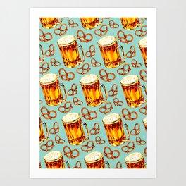 Beer & Pretzel Pattern Art Print