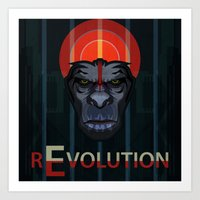 planet of the apes Art Prints featuring Dawn of the Apes by milanova