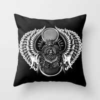 egyptian Throw Pillows featuring Egyptian Scarab by BIOWORKZ