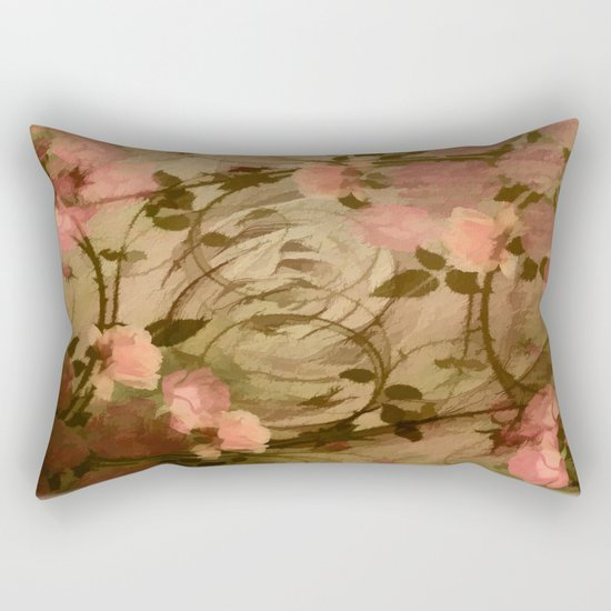 Vintage Pink Roses Abstract Rectangular Pillow