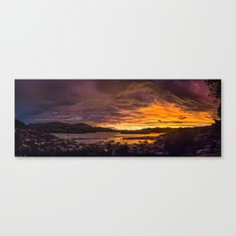 January sunset over Lyttelton harbour Canvas Print