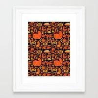 pumpkin Framed Art Prints featuring Pumpkin Pattern by Chris Piascik