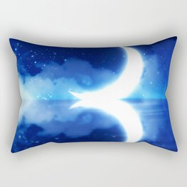 Crescent Moon over blue Starry Sky Rectangular Pillow