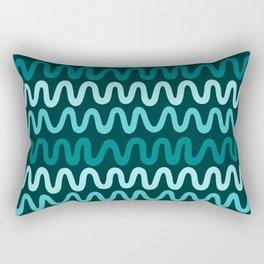 Bold Teal Waves Rectangular Pillow