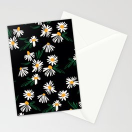 Chamomile Flowers on Black Stationery Cards