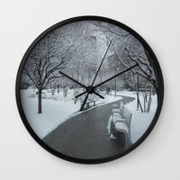 pittsburgh Wall Clocks featuring PITTSBURGH PARK by Stephanie Bosworth