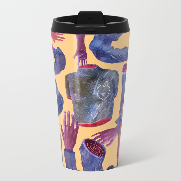 yellow hands Metal Travel Mug
