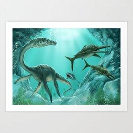 Underwater Dinosaur Art Print