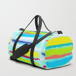 Ocean Blue Summer blue abstract painting stripes pattern beach tropical holiday california hawaii Duffle Bag