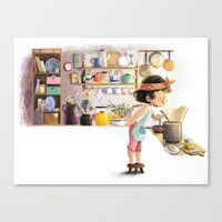 cooking Canvas Prints featuring Cooking by Bumpy