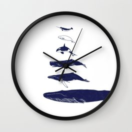 Whale Art - Narwhal / Beluga / Killer Whale Orca / Humpback / Sperm / Blue Wall Clock