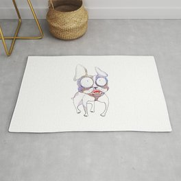 cartoon watercolor dog Rug