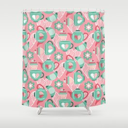 Abstract mauve pink green white sweet pattern Shower Curtain