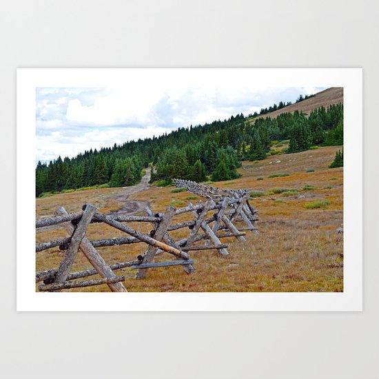 Fenceline in the fall Art Print