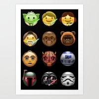 emoji Art Prints featuring Emoji Wars by Vincent Trinidad