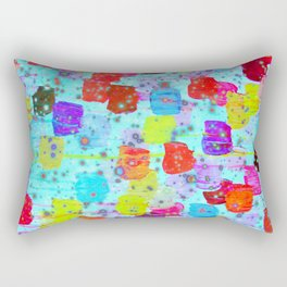 SPECKLE ME DOTTY - Bright Polka Dot Cheerful Aqua Turquoise Blue Rainbow Fine Art Abstract Painting Rectangular Pillow