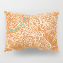 Lille, France, Gold, Blue, City, Map Pillow Sham