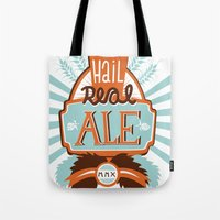 ale giorgini Tote Bags featuring All Hail Real Ale by Kerry Hyndman