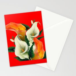 RED & WHITE-ORANGE CALLA LILIES GREY-GOLDEN GARDEN Stationery Cards