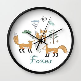 Cute Winter Icon with foxes. Hand Drawn Scandinavian Style. Wall Clock