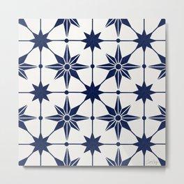 Starburst Mosaic – Navy Metal Print
