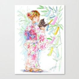 A girl with a kitten - Kimono style vol.4 Canvas Print