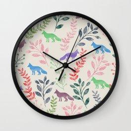 Watercolor Floral & Fox III Wall Clock