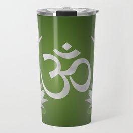 Om Symbol with Lotus flowers on green Travel Mug