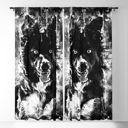 border collie dog lying down watercolor splatters black white Blackout Curtain