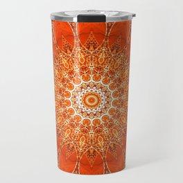 Detailed Orange Boho Mandala Travel Mug